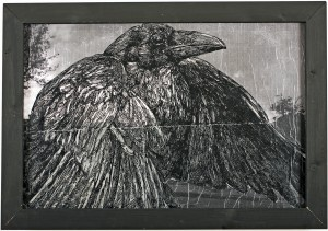 Gaia    -  <strong>Raven of the East Side</strong> (2011<strong style = 'color:#635a27'></strong>)<bR /> mixed media on panel  (ink, pencil and acrylic on digital print and canvas),   36 x 48 inches (3 x 4 ft)  (91.44 x 121.92 cm)