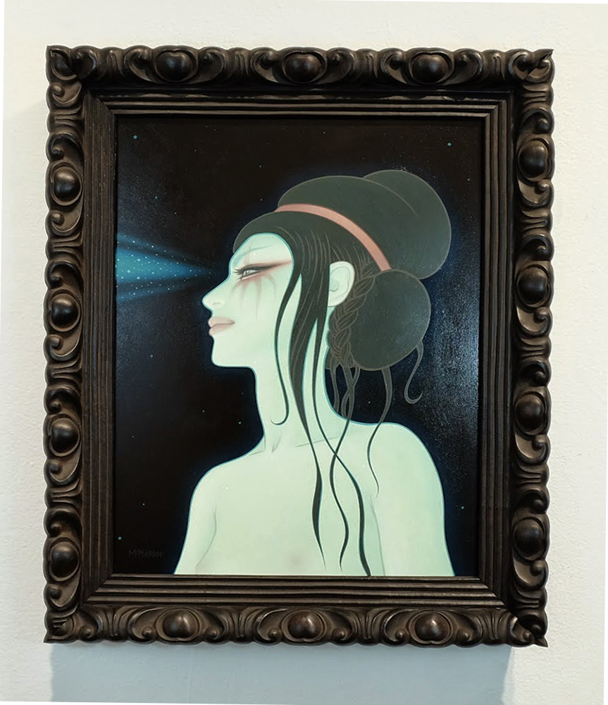 Tara  McPherson -  <strong>Galactic X-Ray or How I Turned Into a Quasar</strong> (2014<strong style = 'color:#635a27'></strong>)<bR /> oil on wood panel,   16 x 20 inches  (40.64 x 50.80 cm)