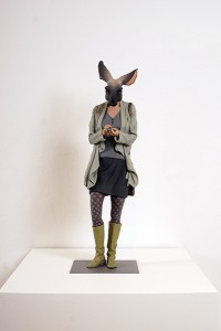Alessandro  Gallo -  <strong>Betta</strong> (2014<strong style = 'color:#635a27'></strong>)<bR /> clay and mixed media on steel base,   24 x 8 x 9 inches  (60.96 x 20.32 x 22.86 cm)