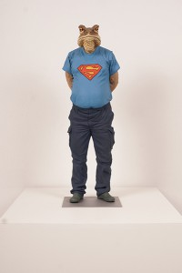 Alessandro  Gallo -  <strong>I Feel Good</strong> (2014<strong style = 'color:#635a27'></strong>)<bR /> clay and acrylic on steel base,   24 x 9 x 8 inches  (60.96 x 22.86 x 20.32 cm)