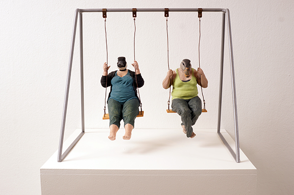 Alessandro  Gallo -  <strong>Swing</strong> (2011<strong style = 'color:#635a27'></strong>)<bR /> clay and mixed media,   17 x 16.5 x 15 inches  (43.18 x 41.91 x 38.10 cm)
