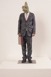 Alessandro  Gallo -  <strong>The Man Who Sold the World</strong> (2014<strong style = 'color:#635a27'></strong>)<bR /> clay and acrylic on steel base,   25 x 8 x 8 inches  (63.50 x 20.32 x 20.32 cm)