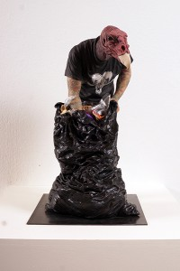 Alessandro  Gallo -  <strong>Turkey Vulture</strong> (2013<strong style = 'color:#635a27'></strong>)<bR /> clay and mixed media on steel base,   20 x 12.5 x 11.5 inches  (50.80 x 31.75 x 29.21 cm)