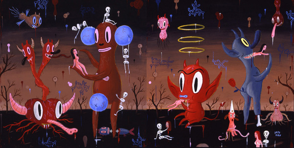 Gary  Baseman -  <strong>The Garden of Unearthly Delights</strong> (2005<strong style = 'color:#635a27'></strong>)<bR /> Acrylic on Wood Panel,   Diptych,   20 x 20 inches each