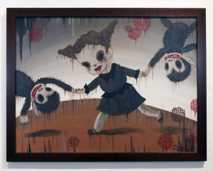 Gary  Baseman -  <strong>La Danse</strong> (2012<strong style = 'color:#635a27'></strong>)<bR /> acrylic on canvas,   18 x 24 inches  (45.72 x 60.96 cm)