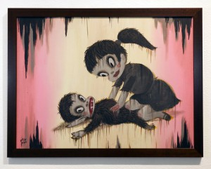 Gary  Baseman -  <strong>Snack</strong> (2012<strong style = 'color:#635a27'></strong>)<bR /> acrylic on canvas,   18 x 24 inches  (45.72 x 60.96 cm)