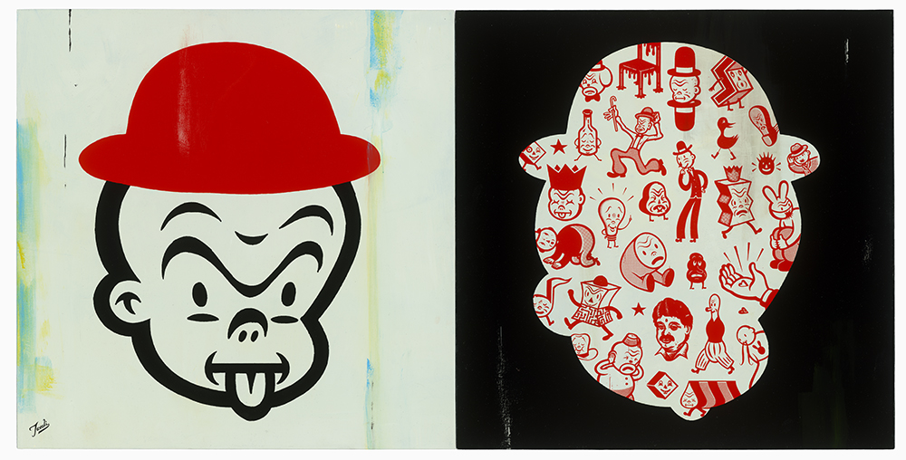 Gary  Taxali -  <strong>Chump and Friends</strong> (2014<strong style = 'color:#635a27'></strong>)<bR /> acrylic on wood panel,   64 x 32 inches  (162.56 x 81.28 cm)  each panel 32 x 32 inches