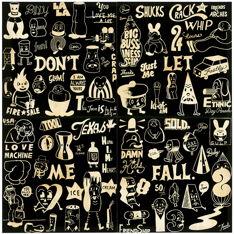 Gary  Taxali -  <strong>Don't Let Me Fall</strong> (2014<strong style = 'color:#635a27'></strong>)<bR /> acrylic on wood panel,   60 x 60 inches  (152.4 x 152.4 cm)  each panel 30 x 30 inches