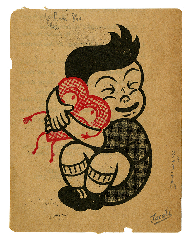 Gary  Taxali -  <strong>Love You</strong> (2014<strong style = 'color:#635a27'></strong>)<bR /> mixed media on paper,   3.75 x 5 inches  (9.53 x 12.7 cm)  8.5 x 9.75, framed