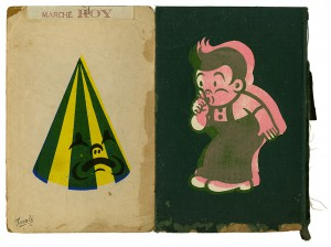 Gary  Taxali -  <strong>Marche Roy</strong> (2014<strong style = 'color:#635a27'></strong>)<bR /> mixed media on paper,   11 x 8.25 inches  (27.94 x 20.96 cm)  15.75 x 13 inches, framed
