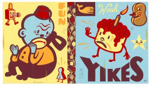 Gary  Taxali -  <strong>Yikes</strong> (2014<strong style = 'color:#635a27'></strong>)<bR /> acrylic and graphite on wood panel,   64 x 36 inches  (162.56 x 91.44 cm)  each panel 32 x 36 inches