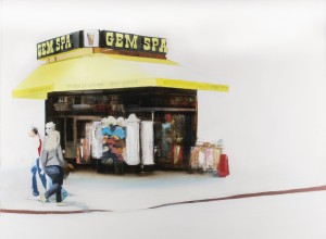 Brett Amory -  <strong>Gem Spa (Waiting #243)</strong> (2015<strong style = 'color:#635a27'></strong>)<bR /> oil on canvas,   36 x 48 inches  (91.44 x 121.92 cm)