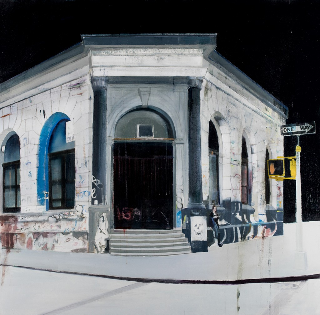 Brett Amory -  <strong>Germania Bank (Waiting #240)</strong> (2015<strong style = 'color:#635a27'></strong>)<bR />  oil on canvas,   48 x 48 inches  (121.92 x 121.92 cm)