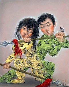 """Xiaoqing  Ding -  <strong>Give it Up</strong> (2007<strong style = 'color:#635a27'></strong>)<bR /> Pastel on Paper,  <p class=""""MsoNormal""""><span style=""""font-family: Helvetica;"""">Image size: 40 x 32 inches,   </span>,  <p class=""""MsoNormal""""><span style=""""font-family: Helvetica;"""">Framed size: 41 x 33 inches,   </span>"""