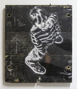 Anders  Gjennestad (Strøk) -  <strong>Pointer</strong> (<strong style = 'color:#635a27'></strong>)<bR /> spray paint on found wood,   25.2 x 21.65 inches  (64 x 55 cm)