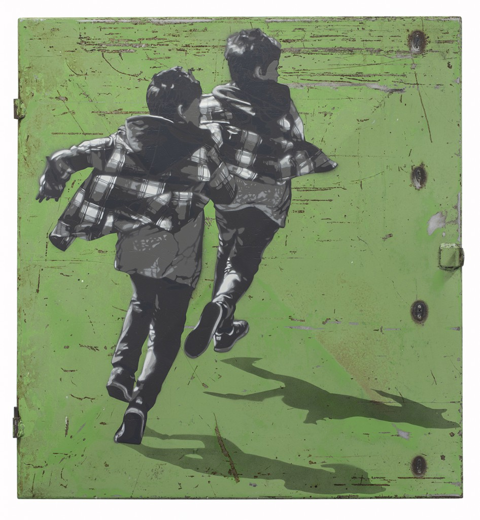 Anders  Gjennestad (Strøk) -  <strong>Runners</strong> (2015<strong style = 'color:#635a27'></strong>)<bR /> spray paint on found steel panel,   27.56 x 25.59 inches  (70 x 65 cm)