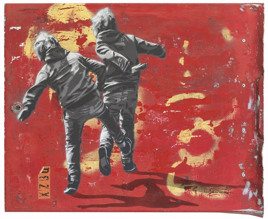 Anders  Gjennestad (Strøk) -  <strong>Throwers</strong> (2015<strong style = 'color:#635a27'></strong>)<bR /> spray paint on found aluminum panel,   25.59 x 32.28 inches  (65 x 82 cm)