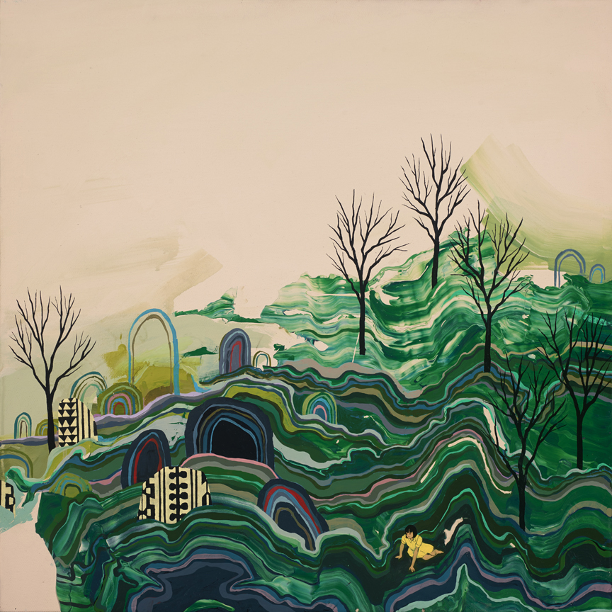 Seonna  Hong -  <strong>Glacial Pace</strong> (2015<strong style = 'color:#635a27'></strong>)<bR /> acrylic on canvas,   24 x 24 inches  (60.96 x 60.96 cm)