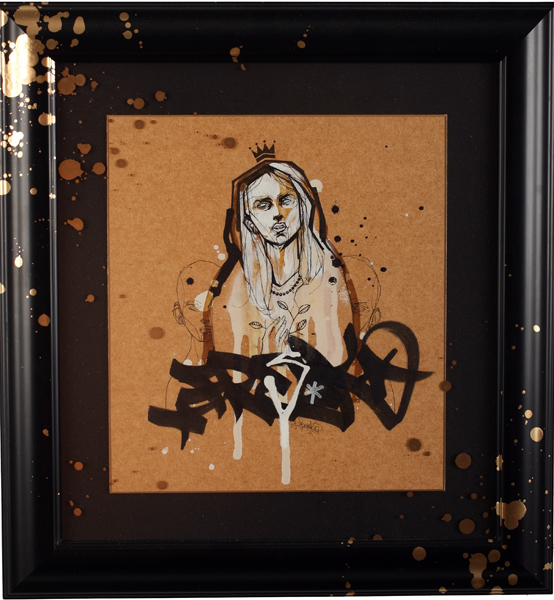 Hamilton  Yokota (Titi Freak) -  <strong>Gold Girl</strong> (2007<strong style = 'color:#635a27'></strong>)<bR /> Spray Paint on Paper,   Image size: 10 1/2 x 9 1/2 inches,   Framed size: 17 x 16 inches