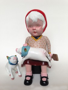 Doubleparlour   -  <strong>Good Pig, Bad Pig</strong> (<strong style = 'color:#635a27'></strong>)<bR /> resin, acrylic paint, varnish, embroidery thread,   figure 1: 10.5 x 6.5 inches  (26.67 x 16.51 cm)  figure 2: 4 x 2 inches  (10.16 x 5.08 cm)