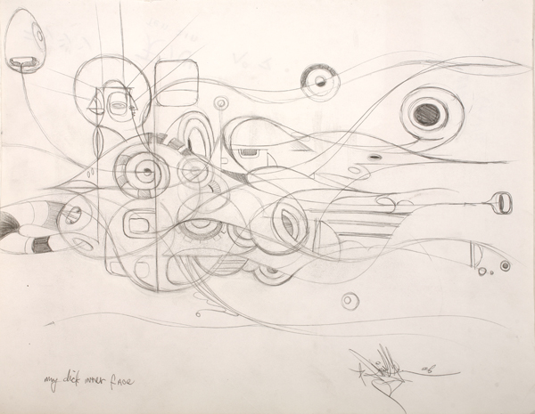 Doze  Green -  <strong>Graphite 10</strong> (2008<strong style = 'color:#635a27'></strong>)<bR /> Graphite on paper,   Framed size: 11 x 14 inches