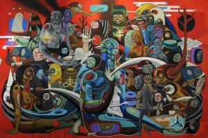 Doze  Green -  <strong>Siddhartha</strong> (2009<strong style = 'color:#635a27'></strong>)<bR /> mixed media on canvas,   72 x 108 inches (6 x 9 feet)  (182.88 x 274.32 cm)