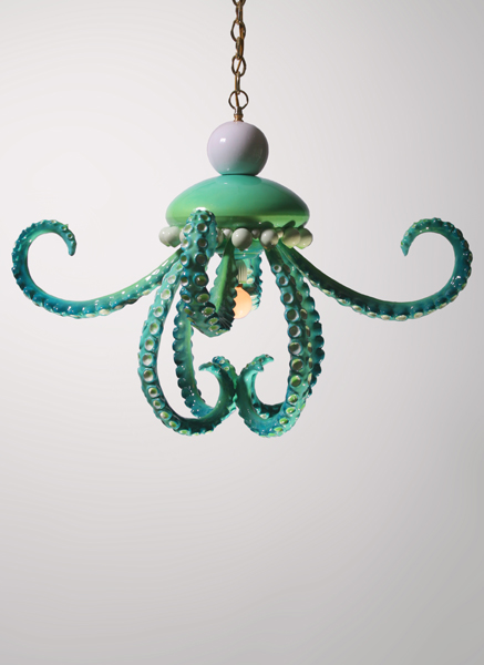 Adam  Wallacavage -  <strong>Green and White OZIUM</strong> (2008<strong style = 'color:#635a27'></strong>)<bR /> Epoxy resin coated cast plaster with lamp parts and movable tentacles,   22 x 32 x 32 inches