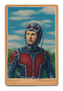 Alex  Gross -  <strong>Ant Man (film)</strong> (2015<strong style = 'color:#635a27'></strong>)<bR /> oil and acrylic on antique cabinet card photograph,   6.5 x 4.5 inches  (16.5 x 11.4 cm)  framed dimensions 11 x 9 inches