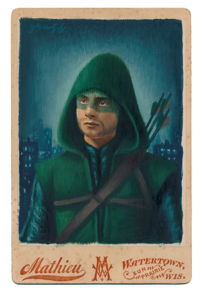 Alex  Gross -  <strong>Arrow</strong> (2015<strong style = 'color:#635a27'></strong>)<bR /> oil and acrylic on antique cabinet card photograph,   6.5 x 4.5 inches  (16.5 x 11.4 cm)  framed dimensions 11 x 9 inches