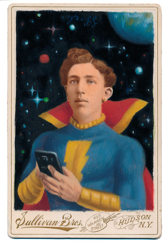 Alex  Gross -  <strong>Captain Marvel Jr</strong> (2015<strong style = 'color:#635a27'></strong>)<bR /> oil and acrylic on antique cabinet card photograph,   6.5 x 4.5 inches  (16.5 x 11.4 cm)  framed dimensions 11 x 9 inches
