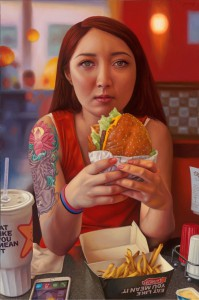 Alex  Gross -  <strong>Eat Like You Mean It</strong> (2015<strong style = 'color:#635a27'></strong>)<bR />  oil on canvas,   25.75 x 17 inches  (65.4 x 43.2 cm),   framed dimensions 26.75 x 18 inches