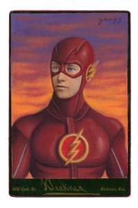 Alex  Gross -  <strong>Flash (tv)</strong> (2015<strong style = 'color:#635a27'></strong>)<bR /> oil and acrylic on antique cabinet card photograph,   6.5 x 4.5 inches  (16.5 x 11.4 cm)  framed dimensions 11 x 9 inches