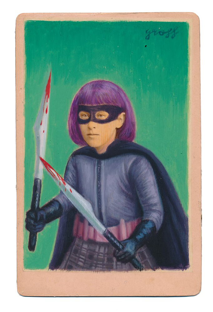 Alex  Gross -  <strong>Hit Girl</strong> (2015<strong style = 'color:#635a27'></strong>)<bR /> oil and acrylic on antique cabinet card photograph,   6.5 x 4.5 inches  (16.5 x 11.4 cm)  framed dimensions 11 x 9 inches