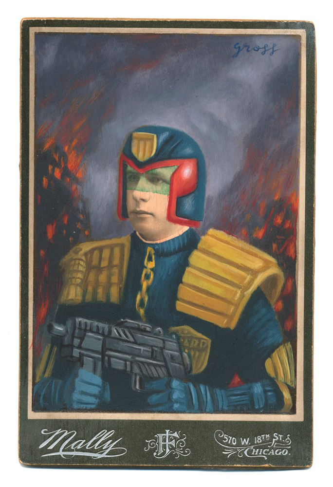 Alex  Gross -  <strong>Judge Dredd</strong> (2015<strong style = 'color:#635a27'></strong>)<bR /> oil and acrylic on antique cabinet card photograph,   6.5 x 4.5 inches  (16.5 x 11.4 cm)  framed dimensions 11 x 9 inches