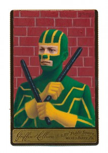 Alex  Gross -  <strong>Kick Ass</strong> (2015<strong style = 'color:#635a27'></strong>)<bR /> oil and acrylic on antique cabinet card photograph,   6.5 x 4.5 inches  (16.5 x 11.4 cm)  framed dimensions 11 x 9 inches