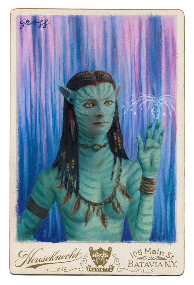 Alex  Gross -  <strong>Neytiri</strong> (2015<strong style = 'color:#635a27'></strong>)<bR /> oil and acrylic on antique cabinet card photograph,   6.5 x 4.5 inches  (16.5 x 11.4 cm)  framed dimensions 11 x 9 inches