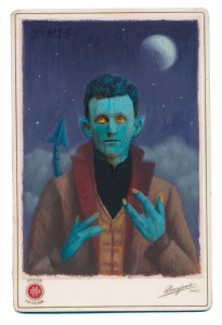 Alex  Gross -  <strong>Nightcrawler (film)</strong> (2015<strong style = 'color:#635a27'></strong>)<bR /> oil and acrylic on antique cabinet card photograph,   6.5 x 4.5 inches  (16.5 x 11.4 cm)  framed dimensions 11 x 9 inches