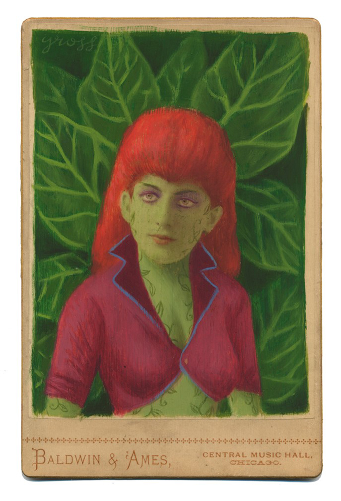 Alex  Gross -  <strong>Poison Ivy</strong> (2015<strong style = 'color:#635a27'></strong>)<bR /> oil and acrylic on antique cabinet card photograph,   6.5 x 4.5 inches  (16.5 x 11.4 cm)  framed dimensions 11 x 9 inches