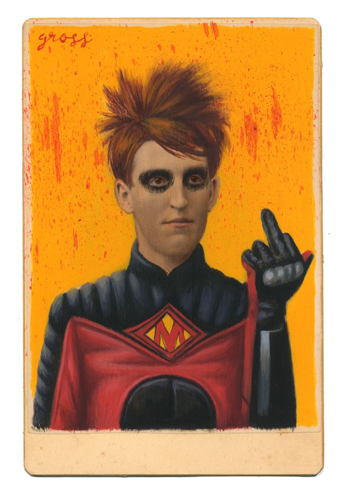 Alex  Gross -  <strong>Red Mist</strong> (2015<strong style = 'color:#635a27'></strong>)<bR /> oil and acrylic on antique cabinet card photograph,   6.5 x 4.5 inches  (16.5 x 11.4 cm)  framed dimensions 11 x 9 inches