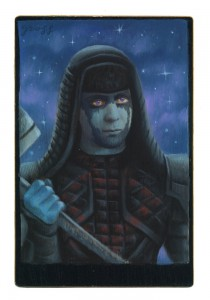 Alex  Gross -  <strong>Ronan The Accuser</strong> (2015<strong style = 'color:#635a27'></strong>)<bR /> oil and acrylic on antique cabinet card photograph,   6.5 x 4.5 inches  (16.5 x 11.4 cm)  framed dimensions 11 x 9 inches