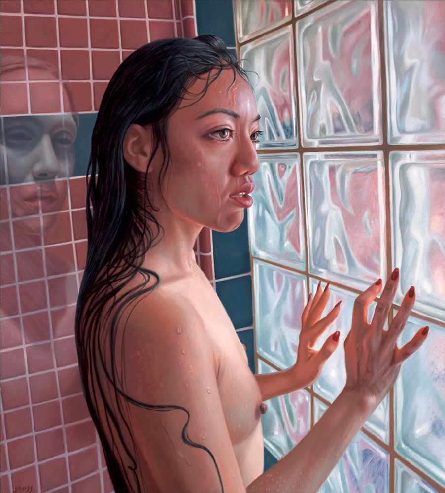 Alex  Gross -  <strong>The Tenant</strong> (2015<strong style = 'color:#635a27'></strong>)<bR />  oil on canvas,   25.5 x 23 inches  (64.8 x 58.4 cm),   framed dimensions 26.5 x 24 inches