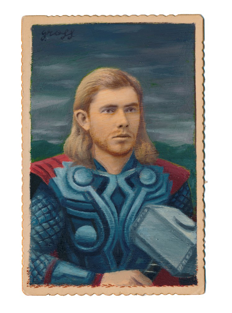 Alex  Gross -  <strong>Thor (film)</strong> (2015<strong style = 'color:#635a27'></strong>)<bR /> oil and acrylic on antique cabinet card photograph,   6.5 x 4.5 inches  (16.5 x 11.4 cm)  framed dimensions 11 x 9 inches