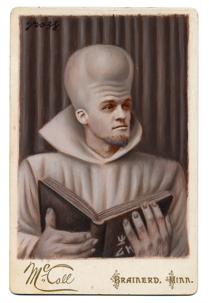 Alex  Gross -  <strong>To Serve Man</strong> (2015<strong style = 'color:#635a27'></strong>)<bR /> oil and acrylic on antique cabinet card photograph,   6.5 x 4.5 inches  (16.5 x 11.4 cm)  framed dimensions 11 x 9 inches
