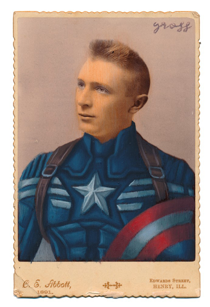 Alex  Gross -  <strong>Winter Soldier</strong> (2015<strong style = 'color:#635a27'></strong>)<bR /> oil and acrylic on antique cabinet card photograph,   6.5 x 4.5 inches  (16.5 x 11.4 cm)  framed dimensions 11 x 9 inches