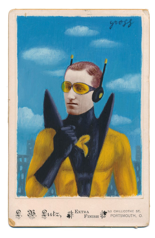 Alex  Gross -  <strong>Yellowjacket</strong> (2015<strong style = 'color:#635a27'></strong>)<bR /> oil and acrylic on antique cabinet card photograph,   6.5 x 4.5 inches  (16.5 x 11.4 cm)  framed dimensions 11 x 9 inches