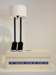 "Grotesk    -  <strong>6'6""</strong> (2014<strong style = 'color:#635a27'></strong>)<bR /> hand painted wood (acrylic), tinted and varnished wood, synthetic shoe laces, canvas, metallic wire, socket, electrical wire and light bulb. Comes in a screen printed poplar wood box.,   30 inches  11.5 inches, lamp shade diameter,   AP of an edition of 23"