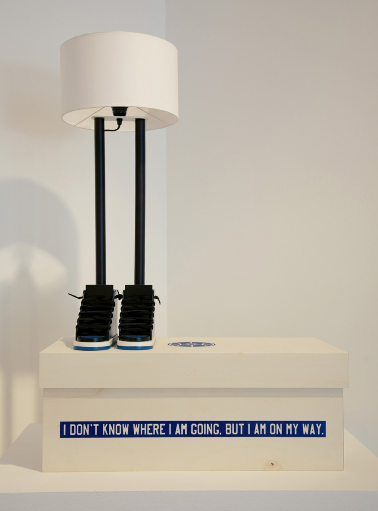 "Grotesk  &nbsp -  <strong>6'6""</strong> (2014<strong style = 'color:#635a27'></strong>)<bR /> hand painted wood (acrylic), tinted and varnished wood, synthetic shoe laces, canvas, metallic wire, socket, electrical wire and light bulb. Comes in a screen printed poplar wood box.,   30 inches  11.5 inches, lamp shade diameter,   AP of an edition of 23"