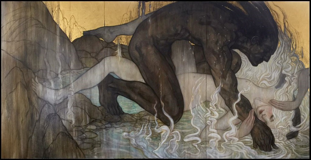R.  Leveille-Guay -  <strong>The Moth</strong> (2015<strong style = 'color:#635a27'></strong>)<bR /> oil and 23k gold leaf on canvas,   48 x 90 inches  (121.92 x 228.6 cm)