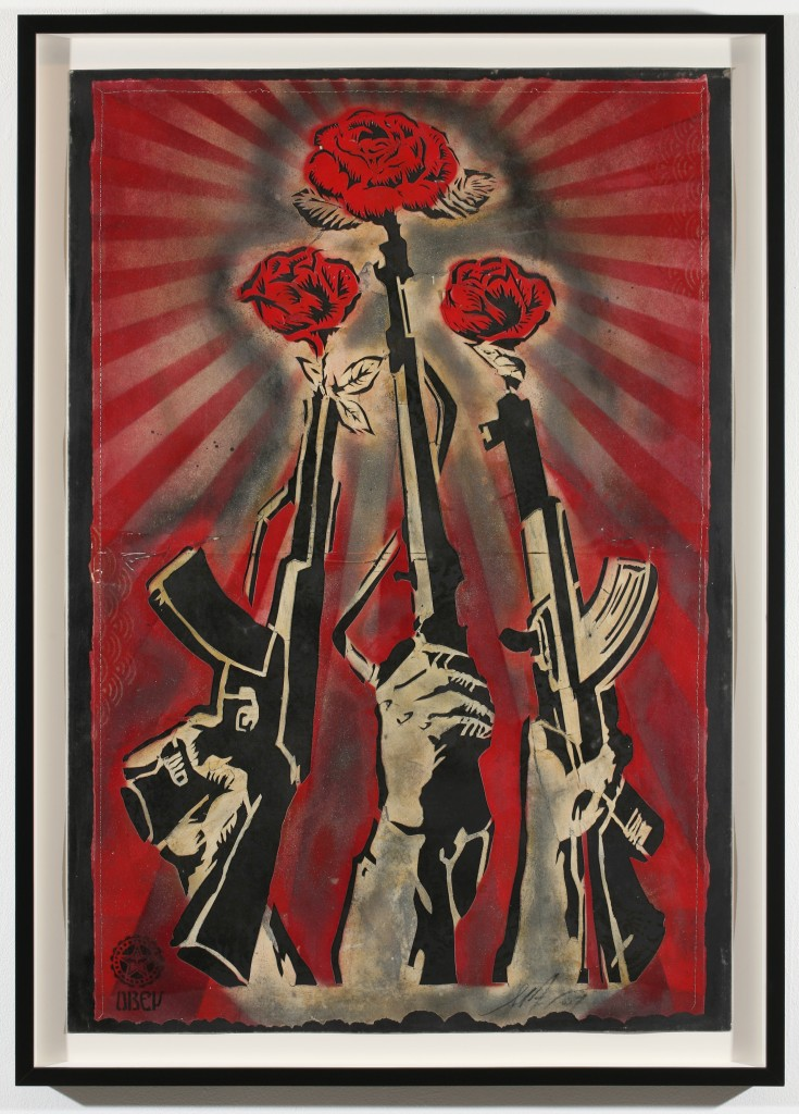 Shepard Fairey -  <strong>Guns and Roses Stencil</strong> (2007<strong style = 'color:#635a27'></strong>)<bR /> retired stencil on paper 30 x 44 inches