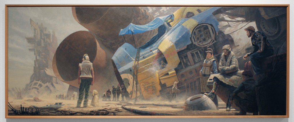 Wayne  Haag -  <strong>Sky Burial #3</strong> (2014<strong style = 'color:#635a27'></strong>)<bR /> oil on linen,   60 x 23 inches  (152.4 x 58.42 cm)
